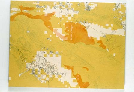 Roy Kinzer, Alvord Desert, OR 2001, acrylic, collaged map on wood panel
