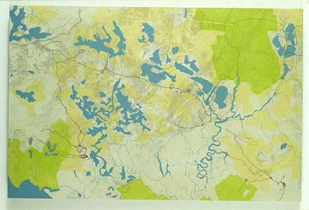 Roy Kinzer, Dividing Creek, NJ 2001, acrylic, collaged map on wood panel