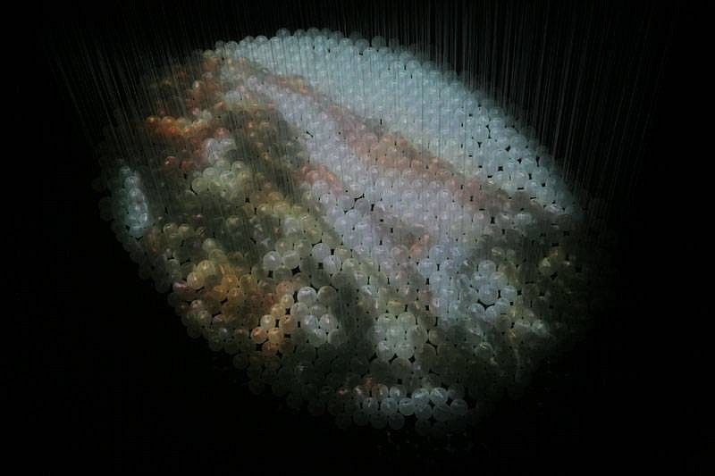 Etsuko Ichikawa, Walk with Mist (detail) 2008, hand-blown glass, video projection, glass pyrograph on paper, filament