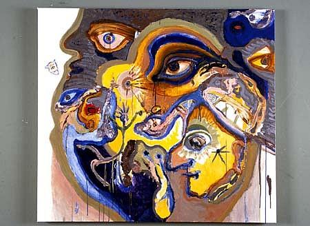 John Jagel, Kokopelli Dances 2004, acrylic and collage