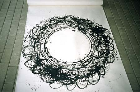Jiri Janda, Over the Night - Fitness With Rings Cycle 1999, india ink on paper