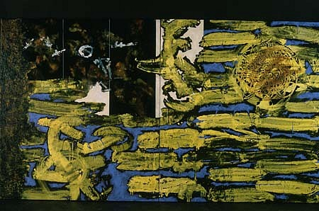 Mariola Jasko, Blue and Yellow Game II 1997, oil on canvas