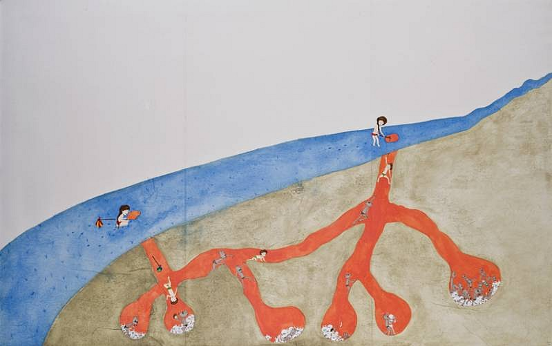 Kyung Jeon, Chapter 2- The Boy and Girl in a Land of Ignorance 2008, gouache, graphite, watercolor on rice paper on canvas