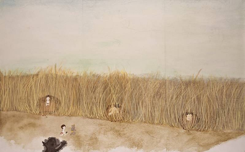 Kyung Jeon, Chapter 9- Curtains of Long Grass Hide Nightmares and Tragic Secrets 2008, gouache, graphite, watercolor on rice paper on canvas