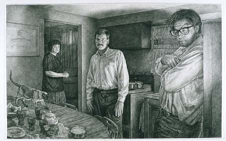 Edgar Jerins, Self- Portrait with Tom and Rita 2002, charcoal on paper