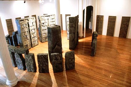 Carla Johnson, Stacks 1990, wood, rigid-foam, bonded concrete