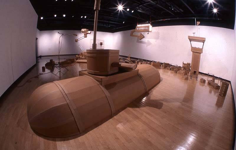 Kiel Johnson, The Pleasures Ours-Submarine 2006, cardboard, pine, conduit