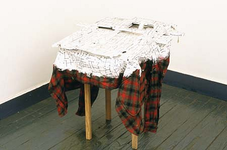 Kim Jones, War Drawing 1989 - 1994, shirt, wood, acrylic, felt-tip pen