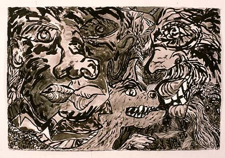John Himmelfarb, February Meeting 1985, brush and ink