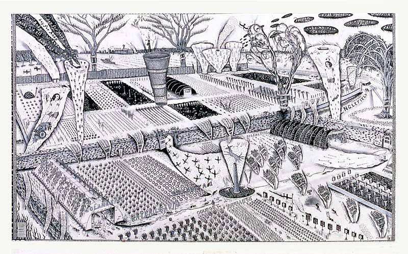 Chris Hipkiss, Jeremy's Garden 2003, graphite and silver ink on paper
