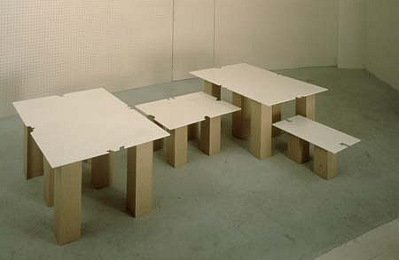 Tomas Hlavina, Model for a System of Questions about Islamic Carpets 1994, plates on pedestals