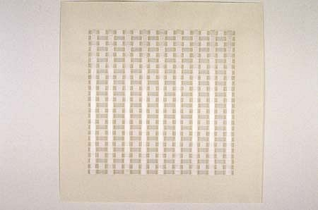 Marietta Hoferer, White Band #1 2002, white tape, pencil, strapp. tape on paper