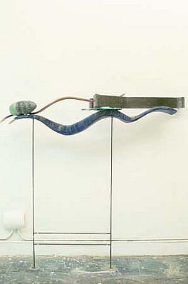 James Holl, Whys and a Q 1989, laminated poplar, oil stain, lead, steel, hyrdostone, wax, silver leaf