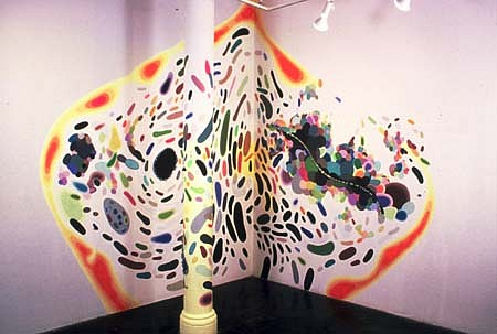 Eric Hongisto, Equilibrium 2001, acrylic, gouache and latex paint on column and walls with encaustic spheres