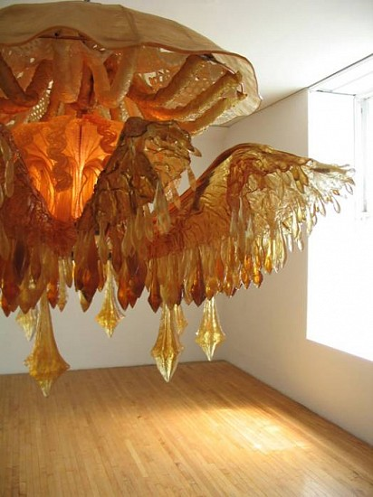 Timothy Horn, Discomedusae (detail) 2004, transparent polyurethane rubber, copper tubing, light fixtures