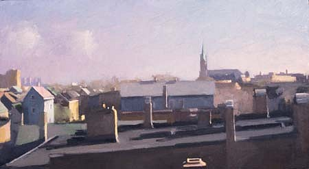 Diana Horowitz, Chicago Roofs 1988, oil on canvas