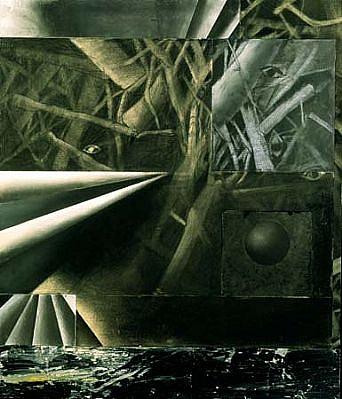 Sandria Hu, Horsky Park Sphere II 1997, charcoal drawing, mixed media