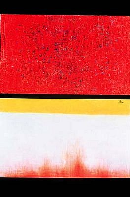 Keiko Hara, Verse - Imbuing in Red 2003, oil on linen and wood panel