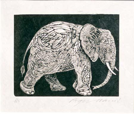 Roger Harris, Elephant 1995, wood engraving