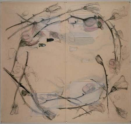 Susan Harrington, Crown of Roses 1995, mixed media on paper