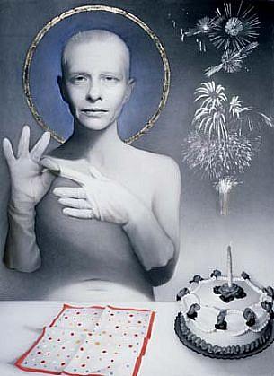Susan Hauptman, Self Portrait 2000, gold leaf, charcoal, pastel