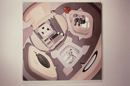 Kara Hammond, Modern Space Station 2001, oil on wood