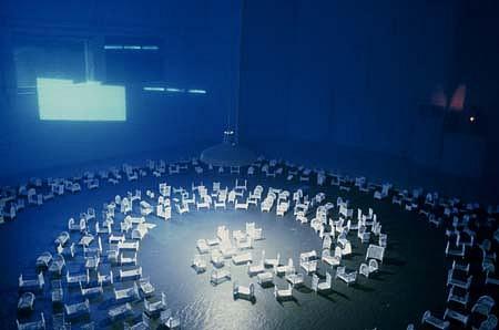 Susan Graham, Insomnia 1999, sugar, egg whites, voile, projection