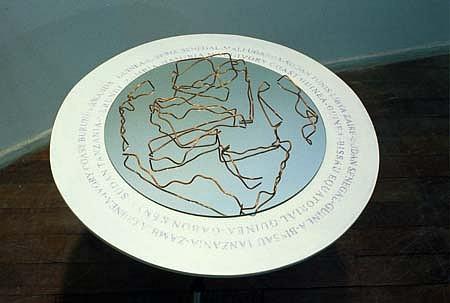 Aleksander Garbin, Broadened Boundaries 2002, photo tripod, light rack, wire, mirror, printed letters