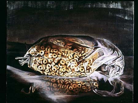 Servando Garcia, Bag of Cereal 2001, oil on canvas