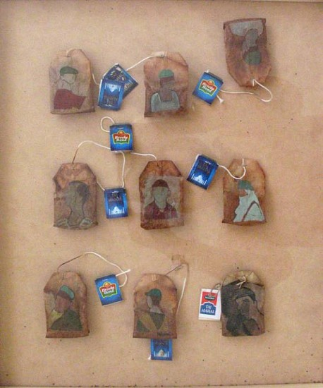 Mahula Ghosh, Stained Portraits 2008, gouache on used teabags