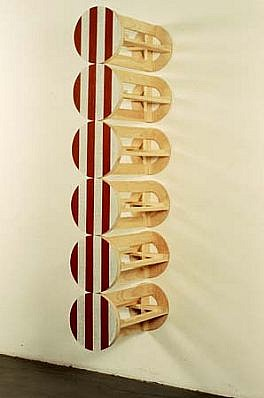 Gerald Giamportone, Untitled (Stacked Column #8) 1990, acrylic, oil, wax, wood