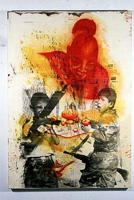 Alonso Gil, El genio rojo 1996, mixed media on canvas
