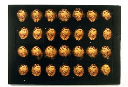 Aharon Gluska, Roll Call II 1991, mixed media on canvas