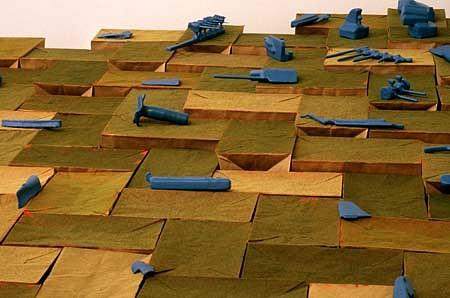 Maximilian Goldfarb, Dig Territory 1999, plastic, wood, foam turf, paper bags