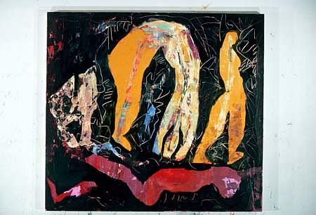 Dana Gordon, Olduvai Lullaby 1986, oil on canvas