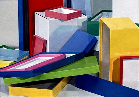 Rebecca Fagg, Bright Box Jumble 1987, oil on paper