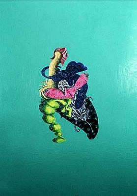 Joan Fabian, Pink Gloves 2001, acrylic, ink on vinyl