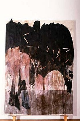Faye Fayerman, Gloaming- myst�re 1993, roofing paper, serean pigment, oil on canvas