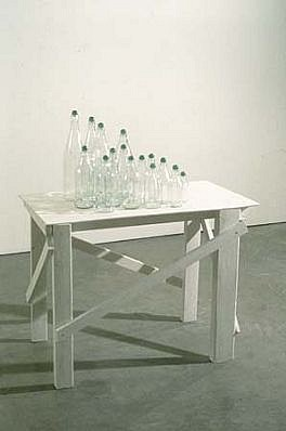 Tony Feher, Untitled 1997, 15 bottles and marbles, wood and paint