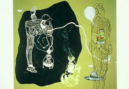 Demián Flores, Cubriendo la Tierra 2004, oil on canvas