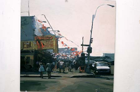 Lisbeth Firmin, Nathan's, Coney Island 1997, oil on panel
