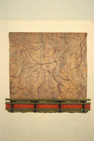 Jorge Fonseca, A Estrada da Vida 2001, wood, emroidery on truck canvas, metals, synthetic enamel ink