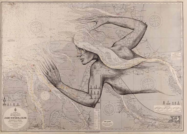 Ulrich Elsener, Jade 2007, ink on sea map