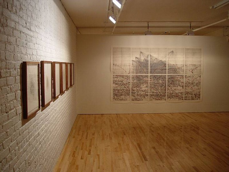 Yizhak Elyashiv, Installation View - Reeves Contemporary Gallery 2005, ink on paper