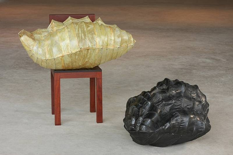 Carolina Escobar, Chair 2008, teakwood, steel wire, cloth, graphite
