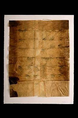Gretchen Ewert, Map 2003, graphite & tea on silk tissue