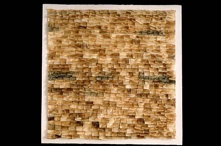 Gretchen Ewert, Paper Prayers 2003, pen, ink, graphite & tea on silk tissue