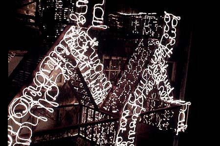 Ernest Daetwyler, Fire Escape (decendo discimus) 2003, steel, light, fire projection, audio