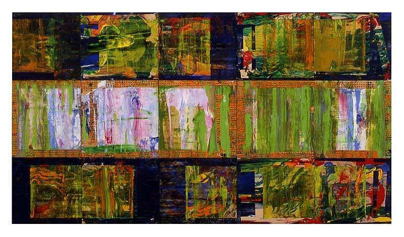 Jamie Dalglish, The Fuse Thru Which The Green Fuse Drives The Flower 2005-2006, acrylic on birch panels