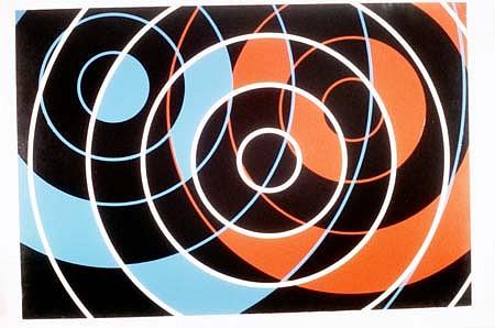 Nassos Daphnis, Dancing Spheres 1988, enamel on canvas